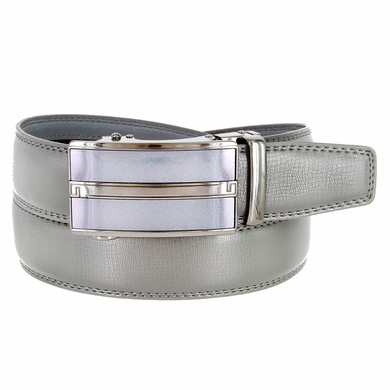 Men's Vintage Gunmetal Sliding Buckle Genuine Leather Ratchet Belt (35mm) - Grey
