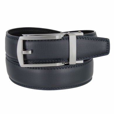 Men's Vintage Gunmetal Sliding Buckle Genuine Leather Ratchet Belt (35mm) - Navy