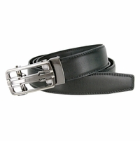 Men's Vintage Polished Gunmetal Sliding Buckle With Roller Genuine Leather Ratchet Belt (35mm) - Black