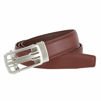 Men's Vintage Polished Sliding Buckle With Roller Genuine Leather Ratchet Belt (35mm) - Brown