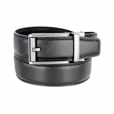 Men's Vintage Polished Gunmetal Sliding Buckle Roller Genuine Leather Ratchet Belt (35mm) - Black