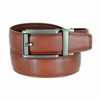 Men's Vintage Polished Gunmetal Sliding Buckle Roller Genuine Leather Ratchet Belt (35mm) - Brown