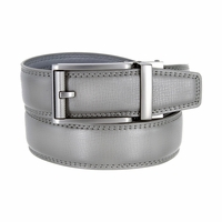 Men's Vintage Polished Gunmetal Sliding Buckle Roller Genuine Leather Ratchet Belt (35mm) - Grey