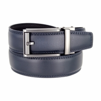 Men's Vintage Polished Gunmetal Sliding Buckle Roller Genuine Leather Ratchet Belt (35mm) - Navy