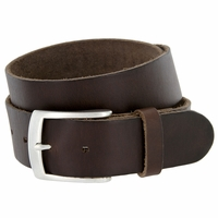 "Men's Vintage Soft One Piece Full Grain Leather Casual Jean Belt 1-1/2"" wide Brown"
