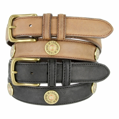 "Men's Western Genuine Leather 12 Gauge Shotgun Conchos Belt 1-1/4"" Wide"