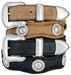 Men's Cowboy Western Horse Head rope Edge Conchos Leather Belt