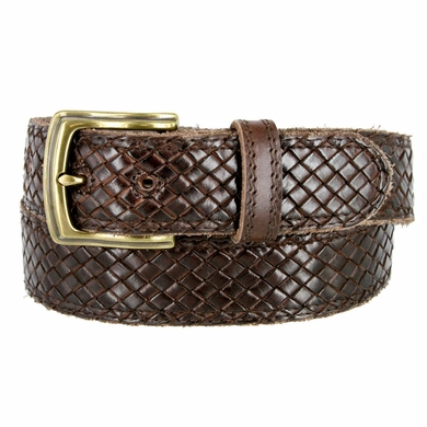 "Men's Woven Braided Crossweave Full Grain Casual Leather Belt 1-1/2"" = 38mm wide - Brown"