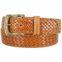 "Men's Woven Braided Crossweave Full Grain Casual Leather Belt 1-1/2"" = 38mm wide - Tan"