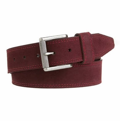 Mens Casual Jean Belt  Made in the USA Genuine Leather Burgundy ND133711