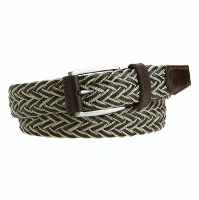 Mens Casual Jean Belt  Made in the USA Leather and Woven Polyester Braided Belt Beige L13553