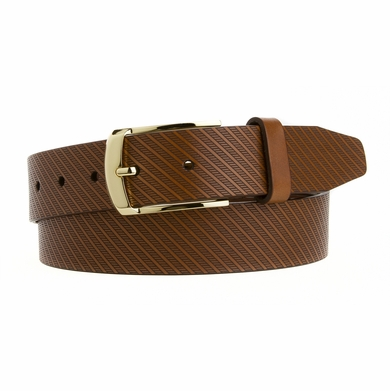 Mens Dress Belt  Made in the USA Italian Saddle Leather with a Gold Plated Buckle Brown L19843