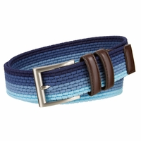 "Men's Lee Belts Casual Woven Stretch Belt 1 3/8"" (35mm) Wide - Blue Multi"