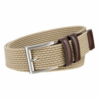 "Men's Lee Belts Casual Woven Stretch Belt 1 3/8"" (35mm) Wide - Khaki"