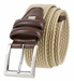 "Men's Lee Belts Casual Woven Stretch Belt 1 3/8"" (35mm) Wide - Khaki1"