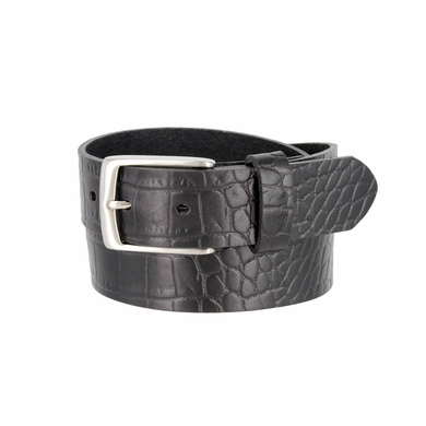 "MZ Men's Crocodile Embossed Pattern Leather Belt 1-3/8"" (35mm) Wide - Black"