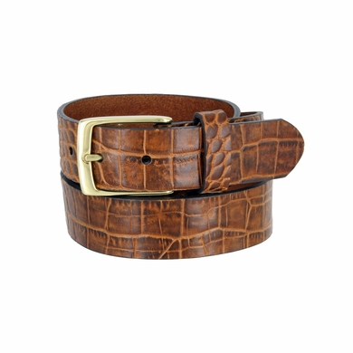 "MZ Men's Crocodile Embossed Pattern Leather Belt 1-3/8"" (35mm) Wide - Cognac"