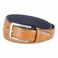 "Nautica Embossed Edge Stitched Leather Casual Belt 1-3/8"" wide - Tan"