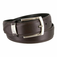 "Nautica Feathered Stitched Edge Belt 1-3/8"" wide - Brown"