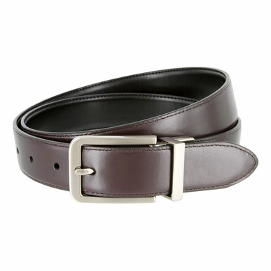 "Nautica Stitched Edge Reversible Belt - Black & Brown 1-1/8"" wide"