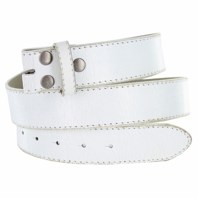"NC57 White Distressed Leather Belt Strap 1 1/2"" Wide"