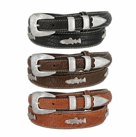 New River Western Fish Concho Genuine Leather Bison Ranger Belt