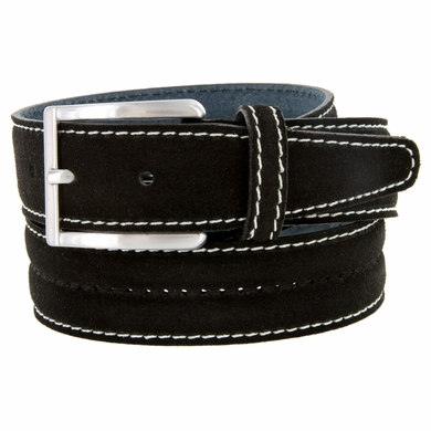 New S075 Men's Italian Suede Leather Dress Casual Belt Made in Italy - Nero (Black)