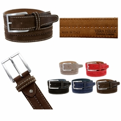 New S075 Men's Italian Suede Leather Dress Casual Belt Made in Italy - T. MORO (Brown)