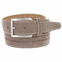 New S075 Men's Italian Suede Leather Dress Casual Belt Made in Italy - Taupe