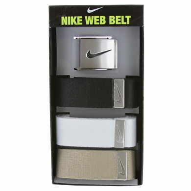 Nike Golf Sport Men's 3 in 1 Web Belt Pack Belt - Black/White/Tan