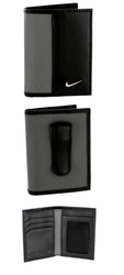 1688909 Nike Golf Sport Men's Leather Tech Twill Card Case With Clip - Grey/Black