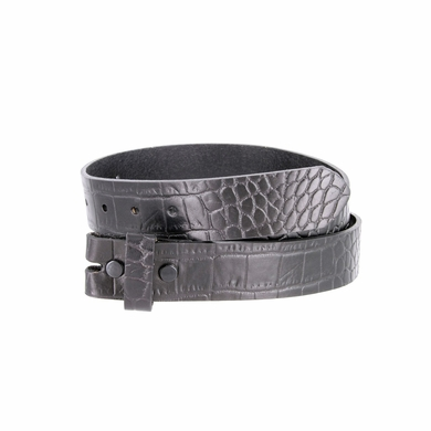 "One-Piece Crocodile Embossed Pattern Full Grain Leather Belt Strap 1-3/8"" (35mm) Wide - Black"