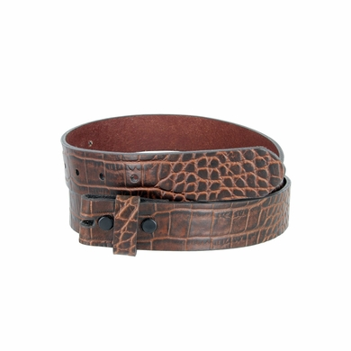 "One-Piece Crocodile Embossed Pattern Full Grain Leather Belt Strap 1-3/8"" (35mm) Wide - Brown"