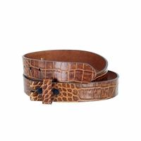 "One-Piece Crocodile Embossed Pattern Full Grain Leather Belt Strap 1-3/8"" (35mm) Wide - Cognac"