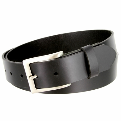 "One Piece Smooth Genuine Dress Leather Belt 1-3/8"" wide Made in USA - Black"