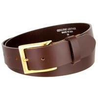 "One Piece Smooth Genuine Dress Leather Belt 1-3/8"" wide Made in USA - Brown"