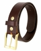 "One Piece Smooth Genuine Dress Leather Belt 1-3/8"" wide Made in USA - Brown2"