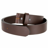 "One Piece Smooth Genuine Dress Leather Belt Strap 1-1/2"" wide Made in USA - Brown"