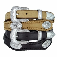 Open Range Longhorn Steer Leather Western Belt