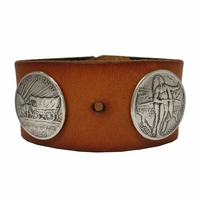 "Oregon Memorial COIN Conchos Biker Wristband 1 1/2"" Wide"