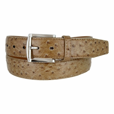 Ostrich Embossed Dress Designer Exotic Taupe Leather Belt