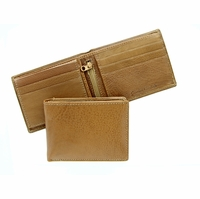 P148 Men's Bifold Genuine Leather Wallet - Tan
