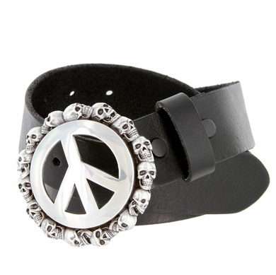 "Peace Sign Skull Buckle Full Leather Biker Belt 1-1/2"" wide"