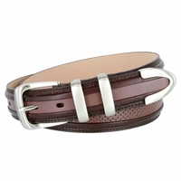 "Perforated Casual Genuine Leather Golf Belt - 1 1/4"" WIDE  Brown/DarkBrown"