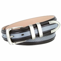 "Perforated Casual Genuine Leather Golf Belt - 1 1/4"" WIDE Grey/Black"