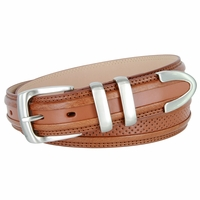 "Perforated Casual Genuine Leather Golf Belt - 1 1/4"" WIDE - TAN"