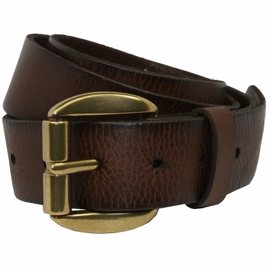Pete Men's Full Grain Leather Casual Jean Belt Solid Brass Roller Buckle -Dark Brown