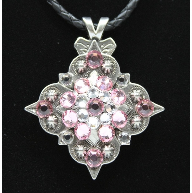 Pink Rhinestone Crystal Diamond Shape Concho Necklace