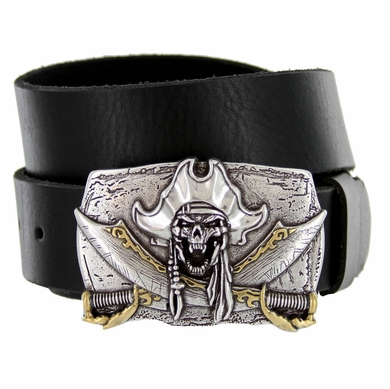 "Pirate Skull Punk Buckle Genuine Full Grain Leather Casual Jean Belt 1-1/2""(38mm) Wide"
