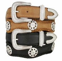 Poker Hand Western Leather Card Suit Concho Belt